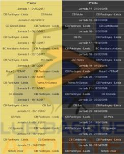 Calendari Lliga EBA 17/18